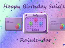 Birthday Suit(e) Rainlendar
