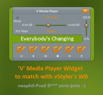 'V' Media Player V2 Widget
