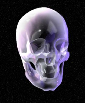 Rotating Glass Skull